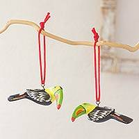 Ceramic ornaments, 'Tropical Toucan' (pair) - Hand Made Ceramic Christmas Bird Ornaments (Pair)