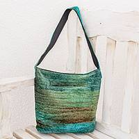 Bamboo chenille shoulder bag, 'Jade Magic' - Hand Crafted Bamboo Chenille Shoulder Bag