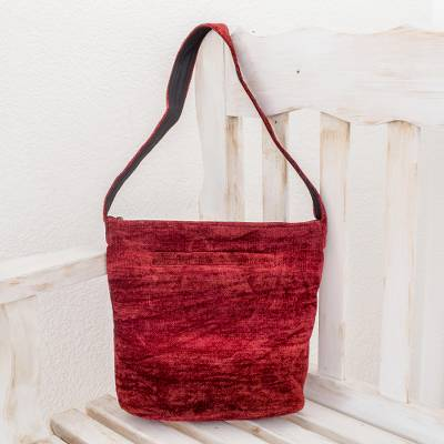 Chenille shoulder bag, 'Love' - Handcrafted Bamboo Chenille Shoulder Bag
