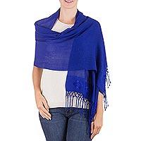 Shawl, 'Cobalt Blue Fiesta' - Artisan Crafted Women's Rayon Shawl Wrap