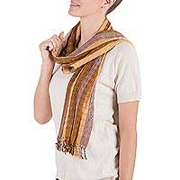 Scarf, 'Brown Quails' - Scarf