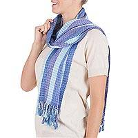 Scarf, 'Sapphire Herons' - Unique Hand Loomed Rayon Striped Scarf