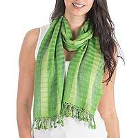 Scarf, 'Emerald Parrots' - Scarf