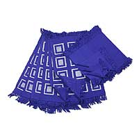 Cotton placemat and napkin set, 'Antigua Blue' (set of 6) - Cotton placemat and napkin set (Set of 6)