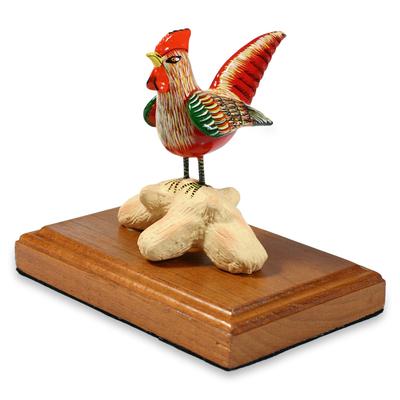 Handcrafted Ceramic and Cedar Wood Bird Sculpture