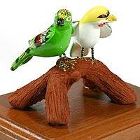Ceramic figurine, 'Parakeet Pair' - Ceramic figurine