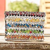 Recycled metalized wrapper clutch handbag, 'Festive' - Hand Woven Recycled Wrapper Clutch