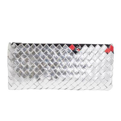 Recycled metalized wrapper clutch handbag, 'Shimmer' - Handmade Recycled Evening Handbag from Central America
