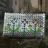 Recycled metalized wrapper clutch handbag, 'Garden Flower'