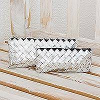 Recycled metalized wrapper clutch handbags, 'Starlight' (pair) - Recycled metalized wrapper clutch handbags (Pair)