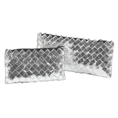 Recycled metalized wrapper clutch handbags (Pair)