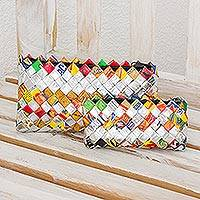 Recycled metalized wrapper cosmetic bags, 'Shine' (pair)