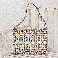 Recycled metalized wrapper shoulder bag, 'Confetti' - Hand Made Recycled Wrapper Shoulder Bag
