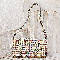 Recycled metalized wrapper clutch handbag, 'Eco-Cheer' - Recycled Wrapper Handbag Handmade in Guatemala