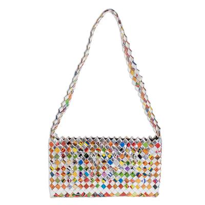 Recycled metalized wrapper clutch handbag, 'Eco-Cheer' - Recycled Wrapper Handbag Handmade in Guatemala