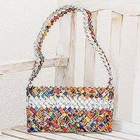 Recycled metalized wrapper shoulder bag, 'Eco-Fiesta' - Unique Recycled Shoulder Bag from Central America