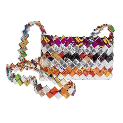 Recycled metalized wrapper shoulder bag, 'Celebration' - Unique Recycled Shoulder Bag