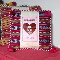 Cotton cushion cover, 'Skull Soap' - Handcrafted Modern Cotton Cushion Cover