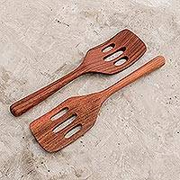 Wood slotted spatulas, 'Guatemalan Fry Up' (pair)