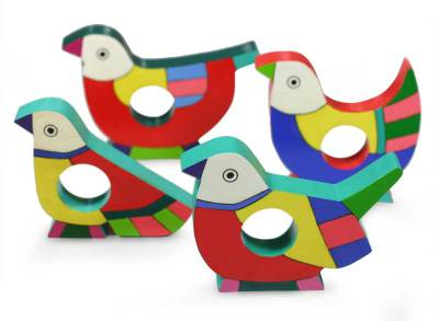 Pinewood napkin rings, 'Tropical Birds' (set of 4) - Wood Napkin Rings (Set of 4)
