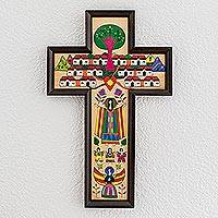Pinewood cross, 'Village of Love' - Guatemalan Hand Painted Wood Cross