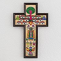 Pinewood cross, 'Village of Love' - Guatemalan Hand Painted Wood Cross