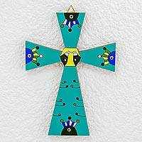 Pinewood cross, 'Creation' - Hand Crafted Religious Wood Green Cross