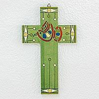 Pinewood cross, 'Peace and Hope' - Hand Painted Christianity Wood Cross