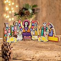 Pinewood nativity scene, 'Christmas Color' (11 pieces) - Handmade Religious Wood Nativity Scene Sculpture (11 Pieces)