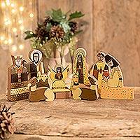 Pinewood nativity scene, 'Christmas Gift' (11 pieces) - Christianity Wood Nativity Scene Sculpture (11 Pieces)