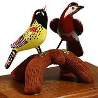 Ceramic figurine, 'Tropical Birds' - Ceramic figurine