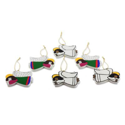 Pinewood ornaments, 'Guardian Angels' (set of 6) - Pinewood ornaments (Set of 6)