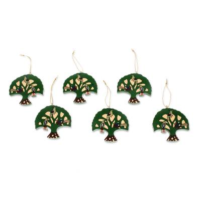Pinewood ornaments, 'Tree of Hope' (set of 6) - Pinewood ornaments (Set of 6)