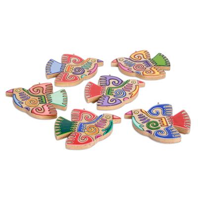 Pinewood ornaments, 'Maya Bird' (set of 6) - Fair Trade Assorted Wood Bird Ornaments (Set of 6)