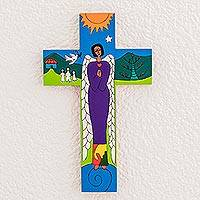 Pinewood cross, 'Angel of Peace' - Handmade Cross Wall Decor from Guatemala