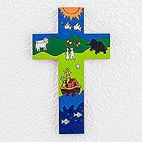 Pinewood cross, 'Noah's Ark' - Handcrafted Christianity Wood Cross