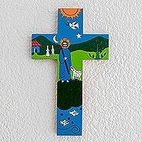 Pinewood cross, 'The Good Shepherd' - Handcrafted Religious Wood Wall Cross