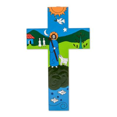 Pinewood cross, 'The Good Shepherd' - Handcrafted Religious Wood Wall Cross