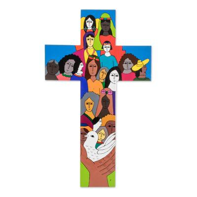 Pinewood cross, 'Peace on Earth' - Handcrafted Multicolor Christianity Wood Cross