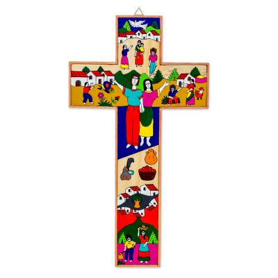Pinewood cross, 'My Family' - Collectible Religious Wood Wall Cross
