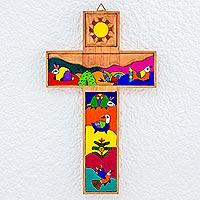 Pinewood cross, 'El Salvador Animals' - Handmade Christianity Wood Cross