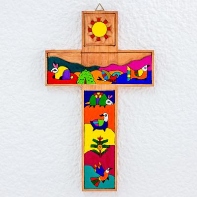 Handmade Christianity Wood Cross El Salvador Animals