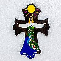 Pinewood cross, 'Caring for You' -  Hand Painted Religious Wood Cross
