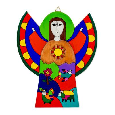 Pinewood wall art, 'Angel of Hope' - Multicolor Angel Wood Wall Art