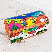 Pinewood box, 'My Village' - Painted Wood Decorative Box