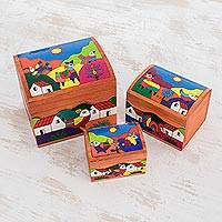 Pinewood boxes, 'Animal Friends' (set of 3)