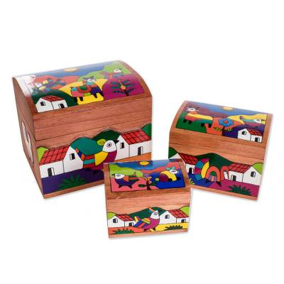 Pinewood boxes, 'Animal Friends' (set of 3) - Wood Bird Decorative Box (Set of 3)