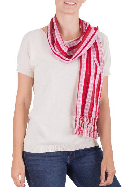 Cotton scarf, 'Solola Rose' - Hand Loomed Cotton Women's Scarf