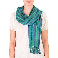 Cotton scarf, 'Emerald Fields' - Hand Made Cotton Patterned Scarf