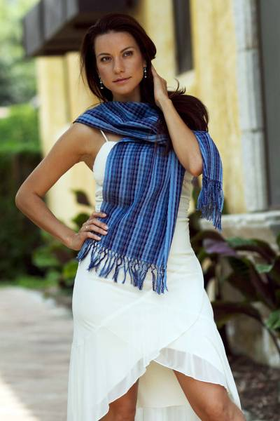 Cotton scarf, 'Sapphire Nahualateis River' - Fair Trade Blue Cotton Scarf
